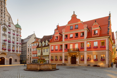 MEMMINGEN, GERMANY - AUG 7, 2017: Architecture of Memmingen, a town in Swabia, Bavaria, Germany. Editorial