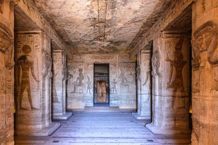 ABU SIMBEL, EGYPT - DEC 3, 2014: Interior of The Great Temple of Ramesses II on the sunrise, Abu Simbel, Egypt. One of the main sights of Egypt