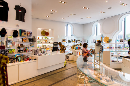 NEW YORK, USA - OCT 8, 2015: Souvenir shop at the Museum of Arts and Design (MAD), Manhattan, New York. It was established in 1956