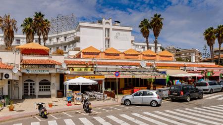 LLORET, SPAIN - AUG 11, 2017: Architecture of Lloret del Mar, a popular touristic resort city in Catalunya Editorial