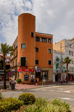 LLORET, SPAIN - AUG 11, 2017: Architecture of Lloret del Mar, a popular touristic resort city in Catalunya