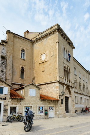TROGIR, CROATIA - AUG 22, 2014: Architecture of the Old Town of Trogir, Croatia. UNESCO World heritage site