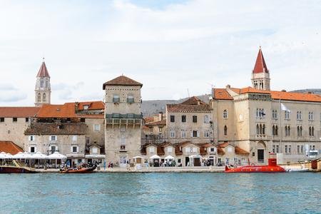 TROGIR, CROATIA - AUG 22, 2014: Cathedral of St. Lawrence and the Old Town of Trogir, Croatia. UNESCO World heritage site