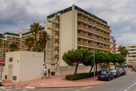 LLORET, SPAIN - AUG 11, 2017: Hotel in Lloret del Mar, a popular touristic resort city in Catalunya Editorial