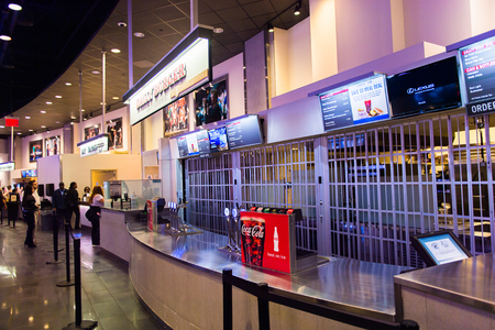 NEW YORK, USA - OCT 8, 2015: Food court at the Madison Square Garden, New York City. MSG is the arena for basketball, ice hockey, pro wrestling, concerts and boxing.