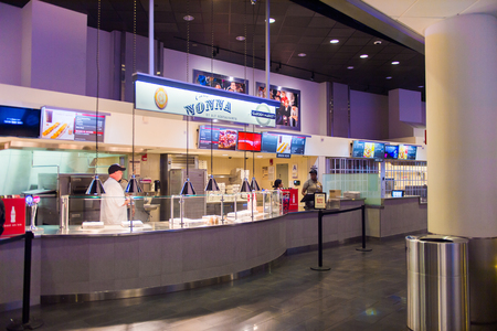 NEW YORK, USA - OCT 8, 2015: Nonna at the Food court at the Madison Square Garden, New York City. MSG is the arena for basketball, ice hockey, pro wrestling, concerts and boxing.