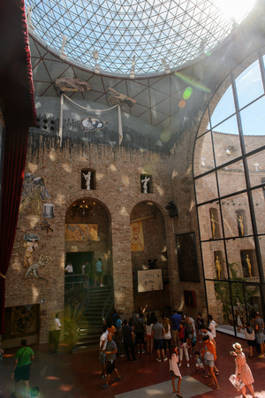 FIGUERAS, SPAIN - AUG 12, 2017: Main hall of The Dali Theatre and Museum, dedicated to the life and works of the Spanish painter Salvador Dali
