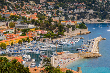 VILLEFRANCHE FRANCE - AUGUST 13, 2017: Panorama of a harbour of Villefranche-sur-Mer, a town of the Cote dAzur region on the French Riviera.