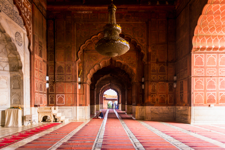 DELHI, INDIA - JAN 18, 2016: Interior of the Jama Masjid, Old town of Delhi, India. It is the principal mosque in Delhi