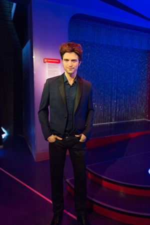 LOS ANGELES, USA - SEP 28, 2015: Robert Pattinson in  Madame Tussauds Hollywood wax museum. Marie Tussaud was born as Marie Grosholtz in 1761