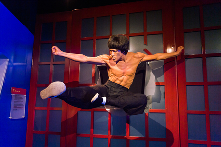 LOS ANGELES, USA - SEP 28, 2015: Bruce Lee in the  Madame Tussauds Hollywood wax museum. Marie Tussaud was born as Marie Grosholtz in 1761