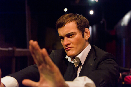 LOS ANGELES, USA - SEP 28, 2015: Quentin Tarantino in Madame Tussauds Hollywood wax museum. Marie Tussaud was born as Marie Grosholtz in 1761