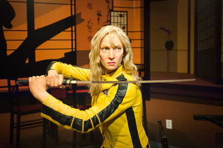 LOS ANGELES, USA - SEP 28, 2015: Uma Thurman as the Bride from Kill Bill in Madame Tussauds Hollywood wax museum. Marie Tussaud was born as Marie Grosholtz in 1761