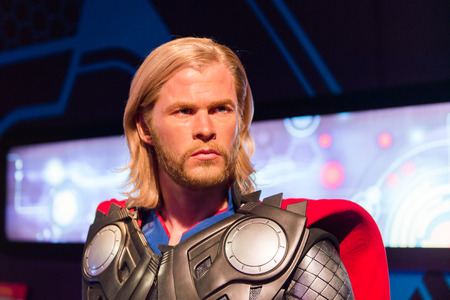 LOS ANGELES, USA - SEP 28, 2015: Chris Hemsworth as Thor in the Madame Tussauds Hollywood wax museum. Marie Tussaud was born as Marie Grosholtz in 1761