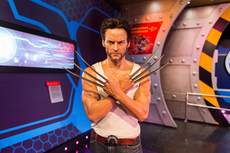 LOS ANGELES, USA - SEP 28, 2015: Hugh Jackman as Wolverine in the Madame Tussauds Hollywood wax museum. Marie Tussaud was born as Marie Grosholtz in 1761