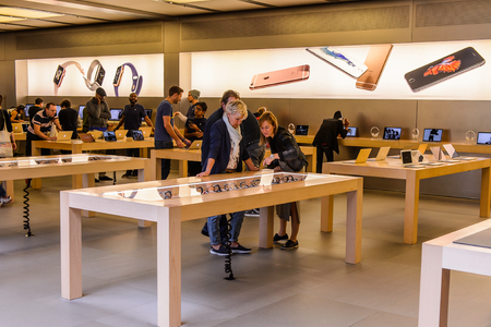 NEW YORK, USA - SEP 22, 2015: Apple store on the Fifth Avenue, New York. The store sells Macintosh personal computers, software, iPod, iPad, iPhone, Apple Watch, Apple TV