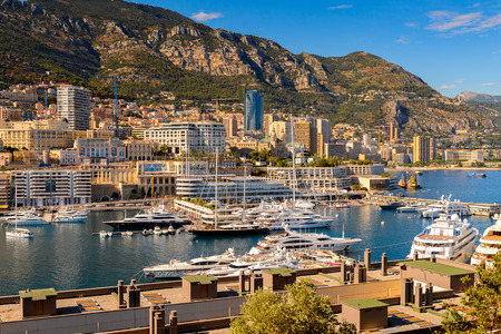 MONACO - AUG 13, 2017: Aerial view of Monaco, a country on the French Riviera in Western Europe
