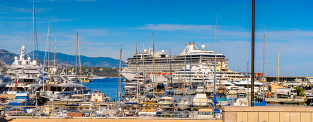 MONACO - AUG 13, 2017: Boats in the port of Monaco, a country on the French Riviera in Western Europe