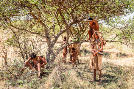 Na wschód od Windhoek, Namibia - 3 stycznia 2016 r.: Niezidentyfikowana rodzina buszmanów. Buszmeni są członkami różnych rdzennych mieszkańców Afryki Południowej łowiecko-zbierackich