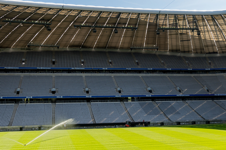 MUNICH, GERMANY - AUG 15, 2017: Allianz Arena, a football stadium with a 75,000 seating capacity,  a home for FC Bayern M.