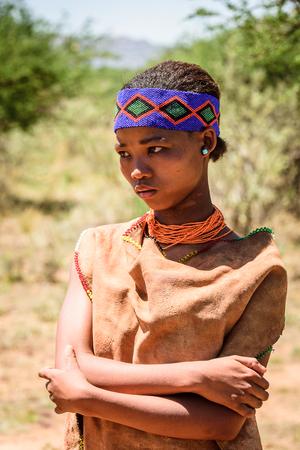 EAST OF WINDHOEK, NAMIBIA - JAN 3, 2016: Unidentified bushman woman. Bushman people are members of various indigenous hunter-gatherer people of Southern Africa