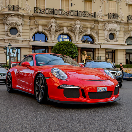 MONTE CARLO,  MONACO - AUG 13, 2017: Porche car in Monte Carlo, a place with lots of new high class automobiles
