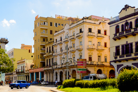 HAVANA, CUBA - SEP 5, 2017: Architecture of the Atlantic coast of  Havana, the capital of Cuba