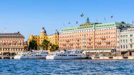 STOCKHOLM, SWEDEN - SEPTEMBER 7, 2014: Grand Hotel, a five-star hotel in Stockholm. Since 1901, the Nobel Prize laureates and their families have traditionally been guests at the hotel 新聞圖片