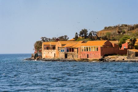Buildings in the Goree Island. Former slaves island Stock Photo
