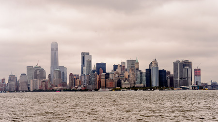 Beautiful panoramic view of the Downtown of Manhattan on a cloudy day, NY, United Sates of America