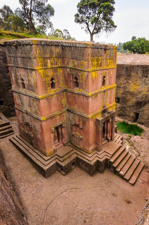 Close view of the monolitic church in Lalibela, Africa
