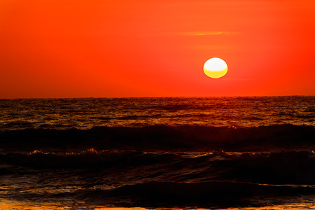 Sunset over the Atlantic Ocean in Swakopmund, Namibia Stock Photo