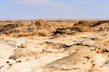 Amazing panoramic view of the Moon landscape, Namibia desert, Africa Stock Photo