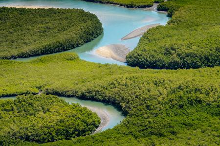 Beautiful Aerial view of river, Bissagos Archipelago (Bijagos), Guinea Bissau.  UNESCO Biosphere Reserve Stock Photo