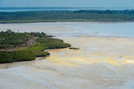 Beautiful sand strip on a low tide, Bissagos Archipelago (Bijagos), Guinea Bissau. Stock Photo