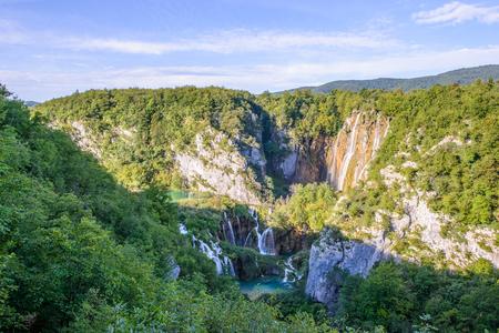 Water fall of the Plitvice lakes area in Croatia Stock Photo