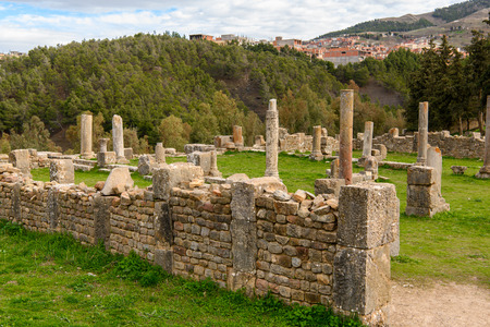 Multiple columns of Djemila, the archaeological zone of the well preserved Berber-Roman ruins in North Africa, Algeria.