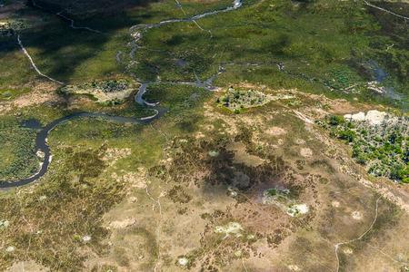 beautiful aerial view of the Okavango Delta (Okavango Grassland), One of the  Seven Natural Wonders of Africa, Botswana Stock Photo