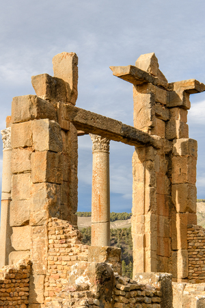 Ruins of Djemila, the archaeological zone of the well preserved Berber-Roman ruins in North Africa, Algeria.