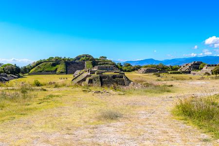Panorama of the Main Plaza, from North Platform, Monte Alban, a large pre-Columbian archaeological site, Santa Cruz Xoxocotlan Municipality, Oaxaca State.