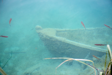 Sank old boat on the bottom of the Plitvice lakes area in Croatia