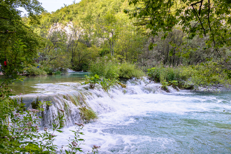 Icredible beautiful nature of the Plitvice lakes area in Croatia Banco de Imagens