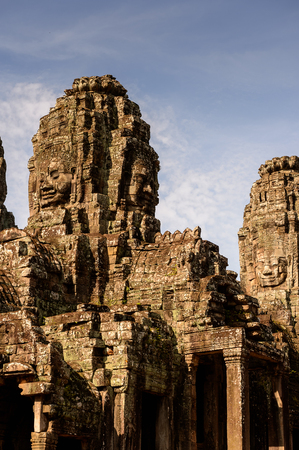 Part of Bayon, Khmer temple at Angkor in Cambodia. Official state temple of the Mahayana Buddhist King Jayavarman VII