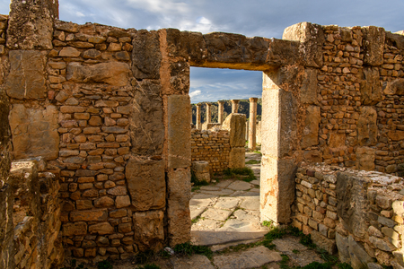 Djemila, the archaeological zone of the well preserved Berber-Roman ruins in North Africa, Algeria.