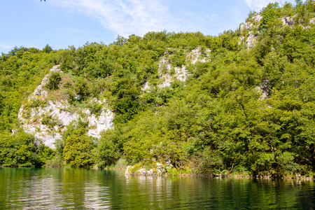Icredible beautiful nature of the Plitvice lakes area in Croatia Stock Photo