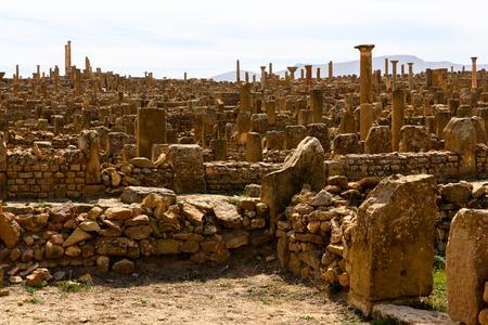 Architecture of Timgad, a Roman-Berber city in the Aures Mountains of Algeria. (Colonia Marciana Ulpia Traiana Thamugadi). Imagens - 107917788