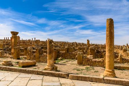 Ruins of Timgad, a Roman-Berber city in the Aures Mountains of Algeria. (Colonia Marciana Ulpia Traiana Thamugadi).