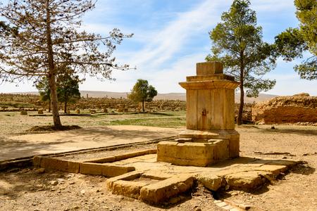 Water in the Timgad, a Roman-Berber city in the Aures Mountains of Algeria. (Colonia Marciana Ulpia Traiana Thamugadi). Imagens - 107926489