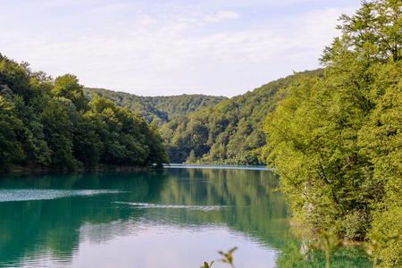 Beautiful nature of the Plitvice lakes area in Croatia Stock Photo