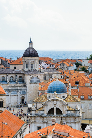 View from the wall on the roof tops of the Old Town of Dubrovnik on a cloudy day, Croatia